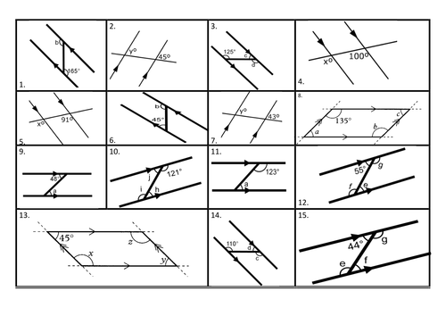 Angles in parallel lines Z F and X angles by sbinning – Angles and Parallel Lines Worksheet