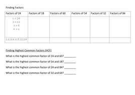 Finding Factors and Highest Common Factor