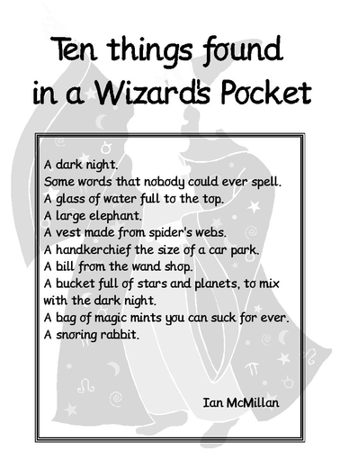 Year 2 Poetry 10 things in a wizard's pocket | Teaching Resources
