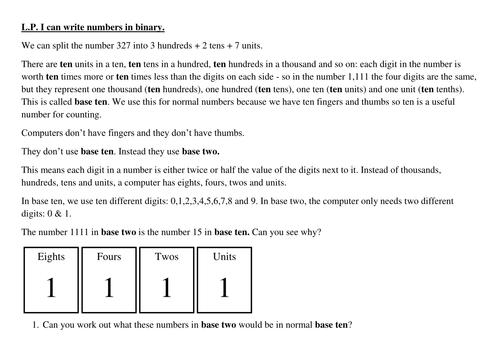 Binary Worksheet By Petertaedwards Teaching Resources Tes