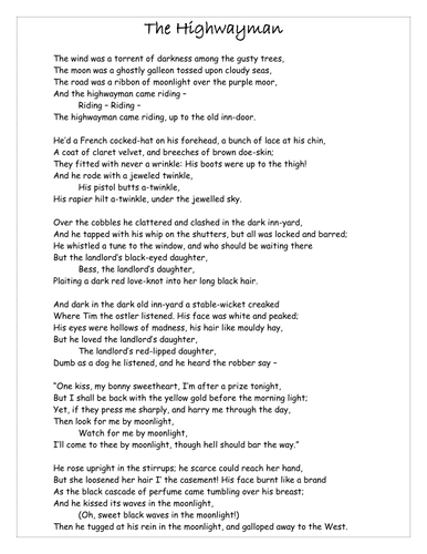 Worksheets Highwayman Poem poetry literary heritage the highwayman by victorjwebb doc