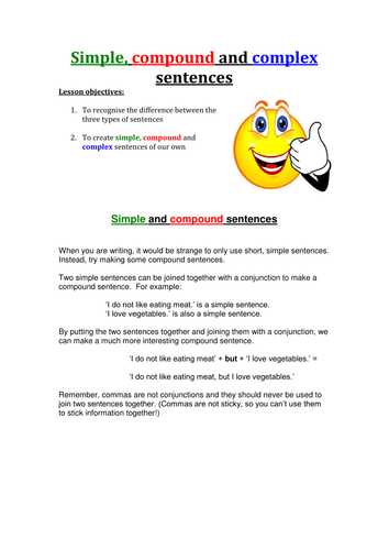 Simple Compound And Complex Sentences By Rdigsworth