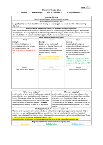observed lesson plan template by jakemp28 teaching resources tes. Black Bedroom Furniture Sets. Home Design Ideas