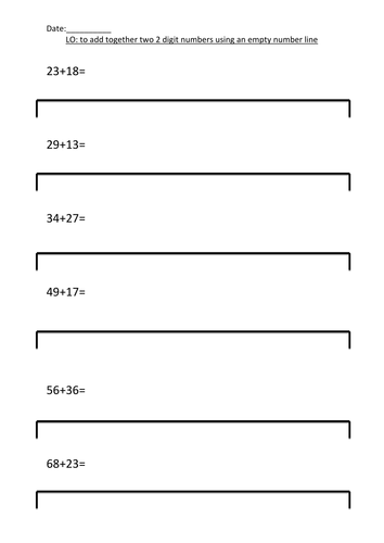 Differentiated Blank Number Line Addition By