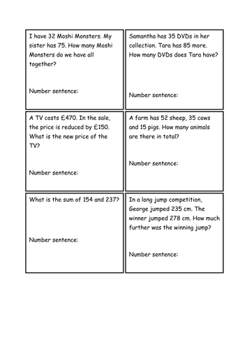 Number Names Worksheets 4 digit addition and subtraction : addition and subtraction word problems year 4/5 by shiv199 ...