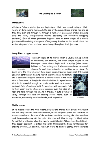 Preview A Text Worksheet : Stages of a river plan text and worksheet by