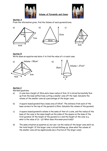 Printables Volume Of Pyramid Worksheet volume of pyramids and cones by owen134866 teaching resources tes