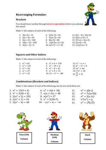 Printables Rearranging Formulas Worksheet rearranging formulae various worksheets by mej teaching resources tes