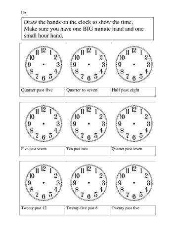 Year 2/3 Time sheets -quarters,half, and 5 minutes by rdhillon1987 ...