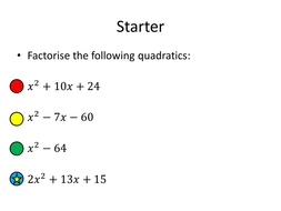 solving quadratic equations sequence of lessons by dannytheref