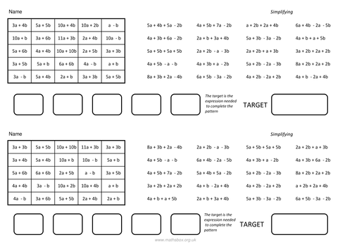 Simplifying and collecting like terms by PixiMaths Teaching – Adding and Subtracting Like Terms Worksheet