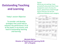 Outstanding Teaching & Learning Training