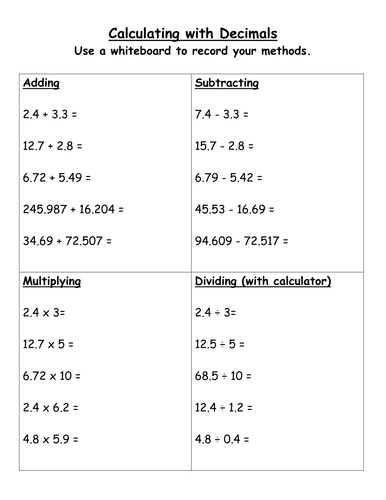 Decimals - Add, Subtract, Multiply, Divide by stericker - Teaching ...