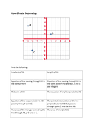 Coordinate Geometry Summary worksheet
