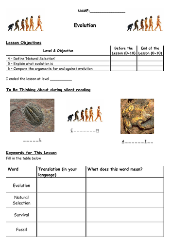 Printables Work Sheet Of Evolution Course work sheet of evolution course precommunity printables worksheets by biscuitcrumbs teaching resources tes worksheet eal docx