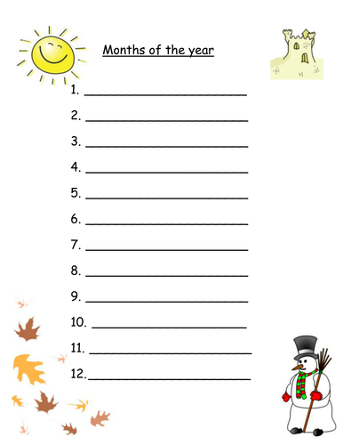 Number Names Worksheets worksheet for months of the year : Months of the year worksheets for Mixed abilities by Robyn_perry91 ...