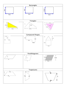 Area of Shapes Grid style 3Q's on each shape.