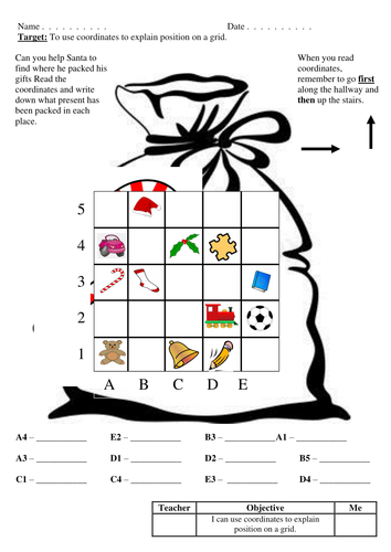 Christmas Coordinates KS1 and KS2 by joelroutledge