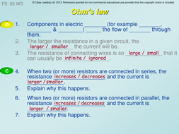 Ohm's Law - graded questions by classleading | Teaching