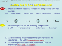 Resistance of LDR & thermistor - graded questions by classleading ...