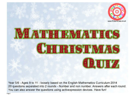 Mathematics Christmas Quiz - Curriculum 2014