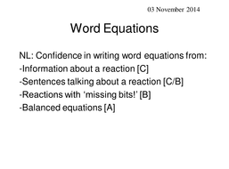 Confidence with Writing WORD EQUATIONS!