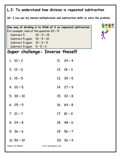 Subtraction Worksheets : repeated subtraction worksheets free ...