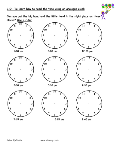 Reading analogue clocks / solve time word problems by