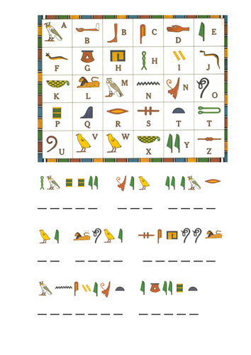 Worksheets Hieroglyphics Worksheet y3 ancient egypt topic hieroglyphics by nikkiw 267 teaching decipher hieroglyphs doc