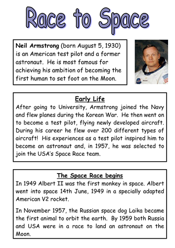 Race To Space Neil Armstrong By Bedbudiman Teaching