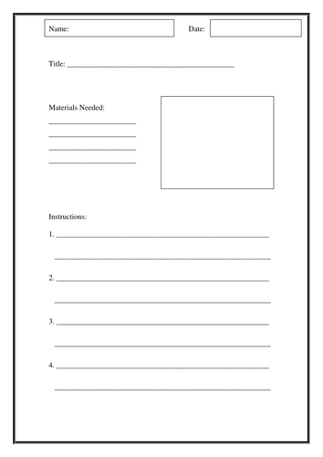 Writing instructions template by sbrumby1 teaching for Instruction sheet template word