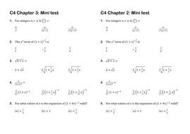 C4 Edexcel chapter summary tests