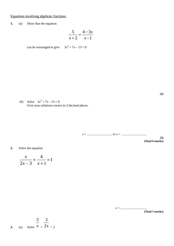 Worksheets Algebraic Fractions Worksheet solving algebraic fractions by pixi 17 teaching resources tes green rtf