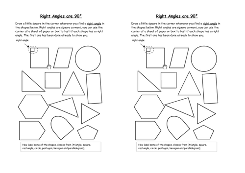 recognise right angles in shapes diff orientations by – Identifying Angles Worksheet