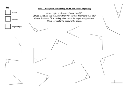 recognise right angles in shapes diff orientations by – Pairs of Angles Worksheet