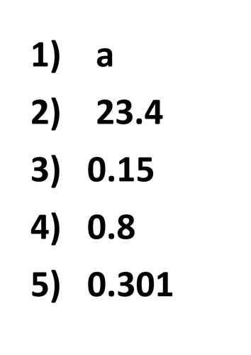 Ordering decimals homework sheet
