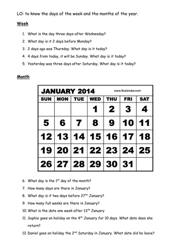Calendar Worksheet By Eleanorstanton Teaching Resources