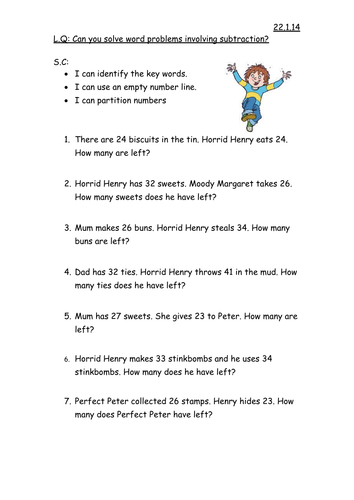 Horrid Henry Subtraction Word Problems By Mrteachuk