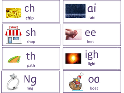 Phase 3 and 5 phonics flashcards with pictures.