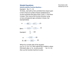 Simple Equations using the Function Machine