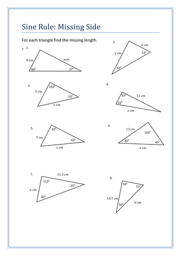 sine rule questions sheet by holyheadschool teaching resources tes. Black Bedroom Furniture Sets. Home Design Ideas