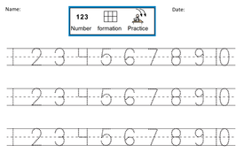 Number Formation Practice Dotted 1 10 By Dr Dig Teaching Resources