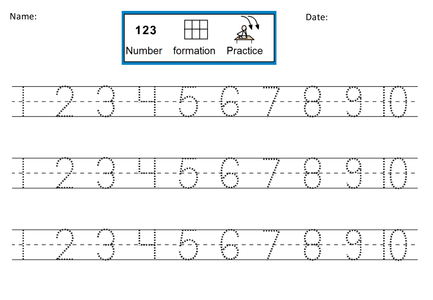 Number Practice Sheets. Numbers Worksheets And Flashcards. Number ...