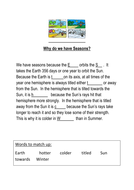 Seasons Starter Activity - Year 8 EAL