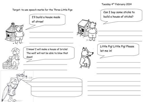 Speech Marks Three Little Pigs by joop09 Teaching Resources TES – Three Little Pigs Worksheets Kindergarten