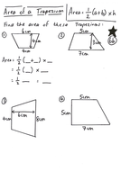 Worksheets Area Of A Trapezoid Worksheet area of a trapezium lesson by ryangoldspink teaching resources tes y8 worksheet differentiated pdf