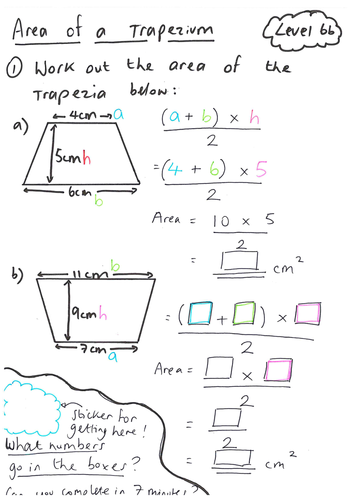 Worksheets Trapezoid Area Worksheet area of a trapezium lesson by ryangoldspink teaching resources tes y8 ws handmade scaffolded pdf