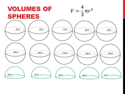 Volume of Spheres Worksheet by HolyheadSchool | Teaching Resources
