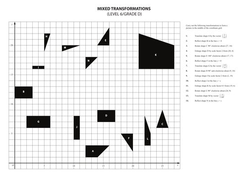Worksheets Combined Transformations Worksheet mixed transformations exercise by walkerm82 teaching resources tes