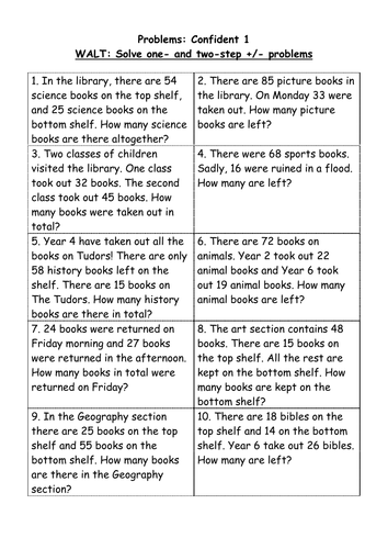 Worksheets Two Step Word Problems Worksheets 2 step addition and subtraction problems 4 levels by helensq confident 1 doc